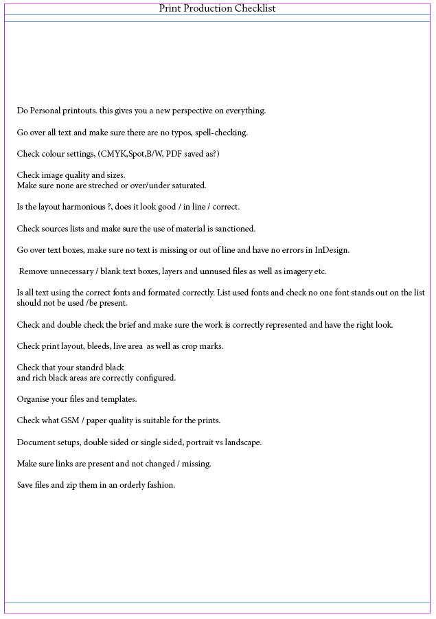 Print checklist