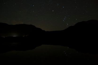 water reflecting a night sky